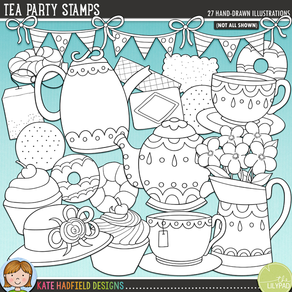 Outline versions of my Tea Party doodles, this stamp pack contains the same doodles in three different formats: black outline png, black outline filled with white png (as shown in the preview) and a new bolder outline version for working on a smaller scale. Digital stamps are perfect for creating colouring sheets, cards and other hybrid projects as well as for stamping on your digital scrapbooking pages!Tea Party was inspired by that very British of traditions: afternoon tea! Use it to record your own tea obsession (if you are anything like me!) or memories of your little one's dolly and teddy tea parties! Contains the following hand-drawn doodles: 9 biscuits / cookies, bunting garland, cake stand, 2 cupcakes, hat, jug with flowers, 2 steam swirls, tea bag, 2 teacups, 2 teapots and the following wordart pieces: time; for; tea; party and !FOR PERSONAL & EDUCATIONAL USE (please see my Terms of Use for more information)