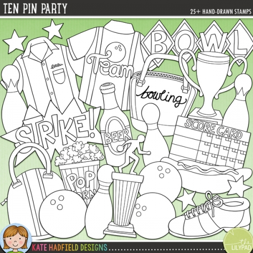 Ten Pin Party Stamps