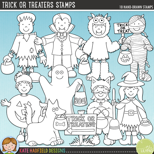 Outline versions of my Trick or Treaters doodles, this stamp pack contains the same doodles in three different formats: black outline png, black outline filled with white png (as shown in the preview) and a new bolder outline version for working on a smaller scale. Digital stamps are perfect for creating colouring sheets, cards and other hybrid projects as well as for stamping on your digital scrapbooking pages!A collection of cute little kiddos, all dressed up ready for some Halloween trick or treating fun! Contains 8 kids in costume and one dog in costume! Perfect for your Halloween pages, invitations and decorations, Trick or Treaters contains the following hand drawn illustrations: cat, Frankenstein's monster, ghost (versions with and without the boo text on the bag are included), dog dressed as ghost, monster (includes versions with and without text on the sign), mummy, pumpkin, vampire, witch and trick or treating sign (also includes blank sign). FOR PERSONAL & EDUCATIONAL USE (please see my Terms of Use for more information)
