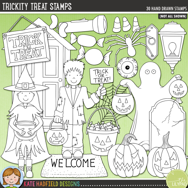 Outline versions of my Trickity Treat doodles, this stamp pack contains the same doodles in three different formats: black outline png, black outline filled with white png (as shown in the preview) and a new bolder outline version for working on a smaller scale. Digital stamps are perfect for creating colouring sheets, cards and other hybrid projects as well as for stamping on your digital scrapbooking pages!	Inspired by my kids' Halloween Trick-or-Treating adventures, Trickity Treat is  full of treats, with maybe just the odd trick thrown in too! Perfect for recording all your Halloween memories and for creating fun invitations and decorations, Trickity Treat contains the following hand drawn doodles: 2 trick or treat buckets, 3 candy corn pieces, cobweb, 2 doors, doorbell, eyeball candy, 3 trick or treaters (Frankenstein's monster, ghost and witch), 3 jellybeans, plastic spider, porch light, 3 jack-o-lantern pumpkins, pumpkin lolly, steps, 3 wrapped sweeties, 5 sweets, 2 toffee apples, 2 tombstones, torch / flashlight, Trick or Treat sign, welcome mat.FOR PERSONAL & EDUCATIONAL USE (please see my Terms of Use for more information)