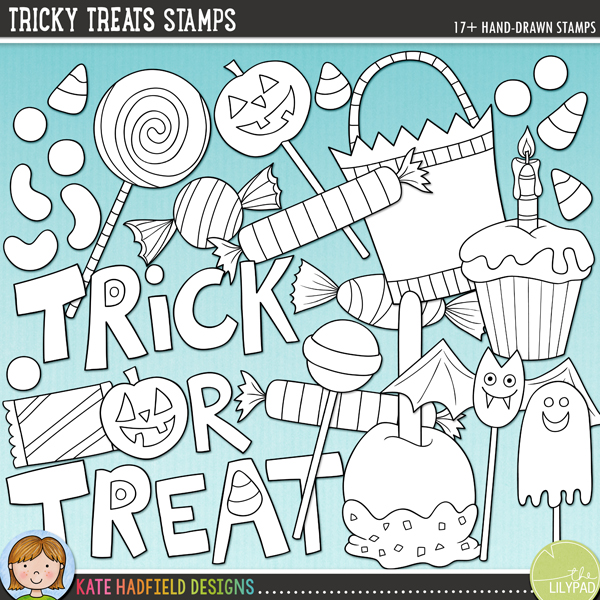 Tricky Treats -  fun Halloween candy digital stamps inspired by the contents of my children's trick-or-treat bags! Hand-drawn illustrations and doodles for digital scrapbooking, crafting and teaching resources from Kate Hadfield Designs.