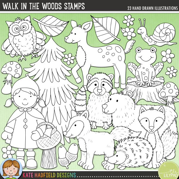 Outlined versions of my Walk in the Woods doodles, this stamp pack contains the same doodles in three different formats: black outline png, black outline filled with white png (as shown in the preview) and a new bolder outline version for working on a smaller scale. Digital stamps are perfect for creating colouring sheets, cards and other hybrid projects as well as for stamping on your digital scrapbooking pages!This collection of fun forest characters was inspired by fairy-tales and a recent family Walk in the Woods! Contains the following hand drawn doodles: 2 acorns, bear. fawn, 3 flowers, 2 foxes, frog, hedgehog, 3 leaves, owl, raccoon, Little Red Riding hood girl, snail, 2 toadstools, tree and tree stump.FOR PERSONAL & EDUCATIONAL USE (please see myTerms of Usefor more information)