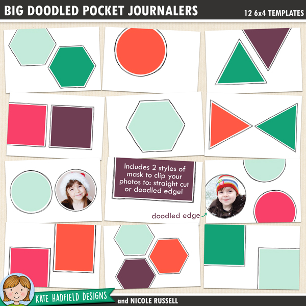 Big Doodled Pocket Journalers - Doodled Pocket Journalers - pack of twelve 6x4 inch digital scrapbooking pocket page templates ideal for pocket scrapping. Show off your favourite photos with these fun templates from Kate Hadfield Designs!