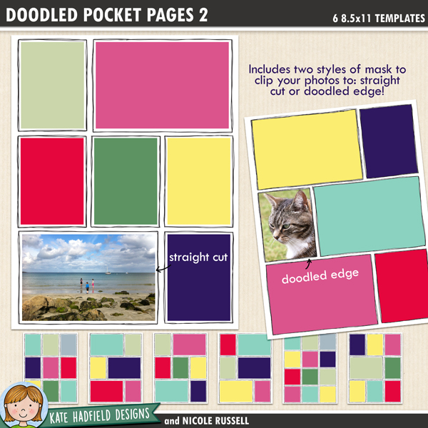Doodled Pocket Pages - pack of eight 12x12 inch digital scrapbooking templates. Show off your photos with these fun pocket scrapbooking templates from Kate Hadfield Designs!
