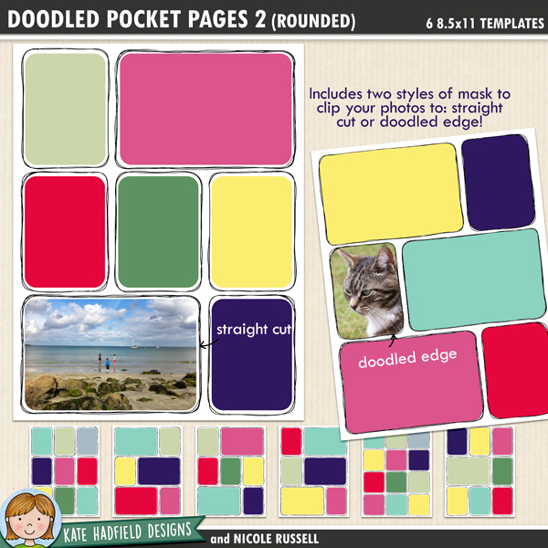 Doodled Pocket Pages 2 (Rounded) - letter sized digital scrapbooking templates! Contains 6 pocket page templates with doodled borders and rounded corners. Show off your photos with these fun pocket scrapbooking templates from Kate Hadfield Designs!
