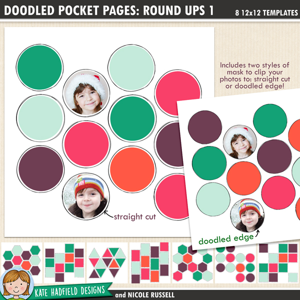 Doodled Pocket Pages: Round Ups 1 - pack of eight 12x12 inch doodled digital scrapbooking templates designed to help you create year in review pages. Use them to showcase your favourites photos of the year, to create monthly roundups, or to showcase your fave pics from an event!
