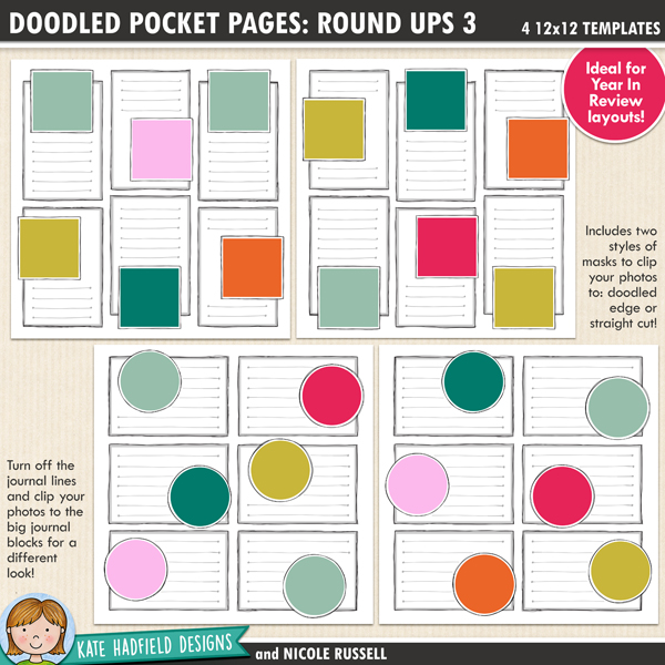 Doodled Pocket Pages: Round Ups 3 - pack of four 12x12 inch doodled digital scrapbooking templates designed to help you create year in review pages. Use them to showcase your favourites photos of the year, or to create monthly roundups.