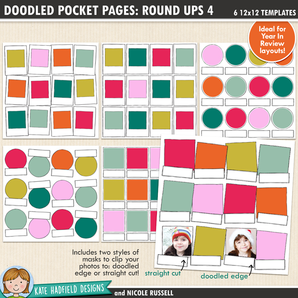 Doodled Pocket Pages: Rounds Ups 4 - pack of six 12x12 inch doodled digital scrapbooking templates designed to help you create year in review pages! Use them to showcase your favourites photos of the year, or to create monthly roundups.