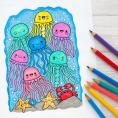 Kawaii Jellyfish colouring page