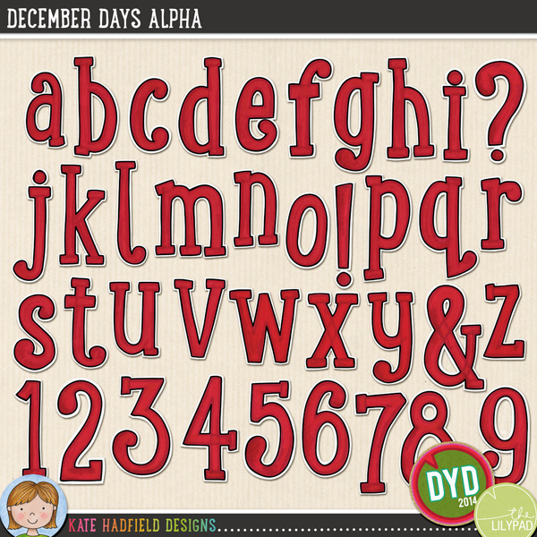A colourful painted alphabet that's sure to add a splash of Christmas (or Valentine's!) colour to your pages and projects! Contains lowercase letters a-z, numerals 0-9 and the following punctuation & ? ! Co-ordinates with the rest of the Document Your December 2014 collection.FOR PERSONAL & EDUCATIONAL USE (please see myTerms of Usefor more information)
