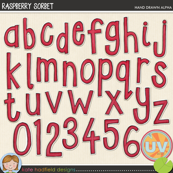 Add a splash of colour to your pages and projects with this delicious raspberry hand drawn alphabet! Contains lowercase letters a-z and numerals 0-9FOR PERSONAL & EDUCATIONAL USE (please see my Terms of Use for more information)