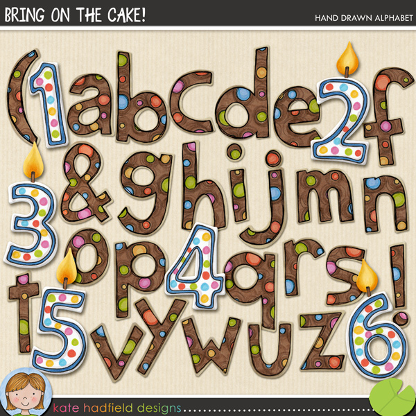 Hand drawn birthday inspired alphabet containing lowercase letters, candle style numbers (each with and without a candle flame) and the following punctuation: & ? ! ( )FOR PERSONAL & EDUCATIONAL USE (please see my Terms of Use for more information)