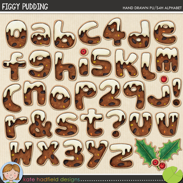 A fun Christmas pudding inspired hand-drawn alpha with lashings of cream on top! Contains lowercase letters, numerals, some punctuation and 2 holly leaves and berries.FOR PERSONAL & EDUCATIONAL USE (please see myTerms of Usefor more information)