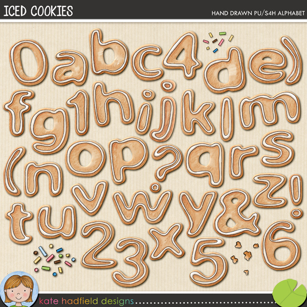 A yummy, scrummy, tasty iced cookie alphabet that's perfect for your baking pages and recipe book projects! Contains hand-drawn lower case letters, numerals, some punctuation, crumb and sprinkle doodles.FOR PERSONAL & EDUCATIONAL USE (please see my Terms of Use for more information)