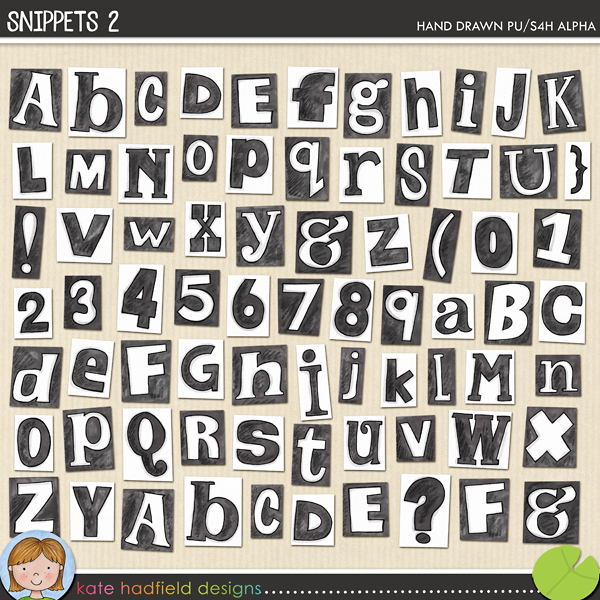 Snippets 2 Alphabet is a hand drawn collection of alpha pieces inspired by newspaper clippings (and ransom notes!!) and the black and white cousin of the original Snippets alpha! Contains numerals, two versions of each letter and the following punctuation: & ( ) ? ! all in individual png files.FOR PERSONAL & EDUCATIONAL USE (please see myTerms of Usefor more information)