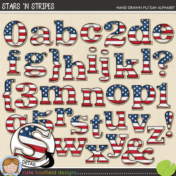 Stars 'n Stripes is a proudly patriotic (well, patriotic if you're American!!) hand-drawn alpha created to coordinate with my Star Spangled doodles! Contains lowercase letters, numerals and the following punctuation: { } ? !FOR PERSONAL & EDUCATIONAL USE (please see myTerms of Usefor more information)