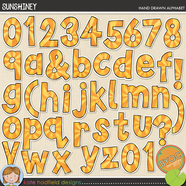 Add a touch of summer sun to your pages and projects with this sunburst style hand drawn alphabet! Contains lowercase letters a-z, numerals 0-9 and the following punctuation ()?&!FOR PERSONAL & EDUCATIONAL USE (please see my Terms of Use for more information)