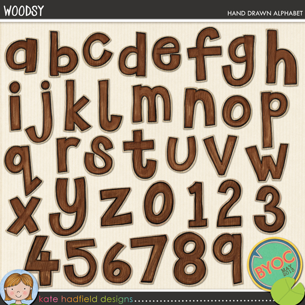 Woodsy is a hand drawn alpha with more than a little hint of woodgrain! Perfect for adding a touch of hand drawn whimsy to all your outdoorsy pages and projects! Contains lowercase letters and numerals as shown.FOR PERSONAL & EDUCATIONAL USE (please see myTerms of Usefor more information)