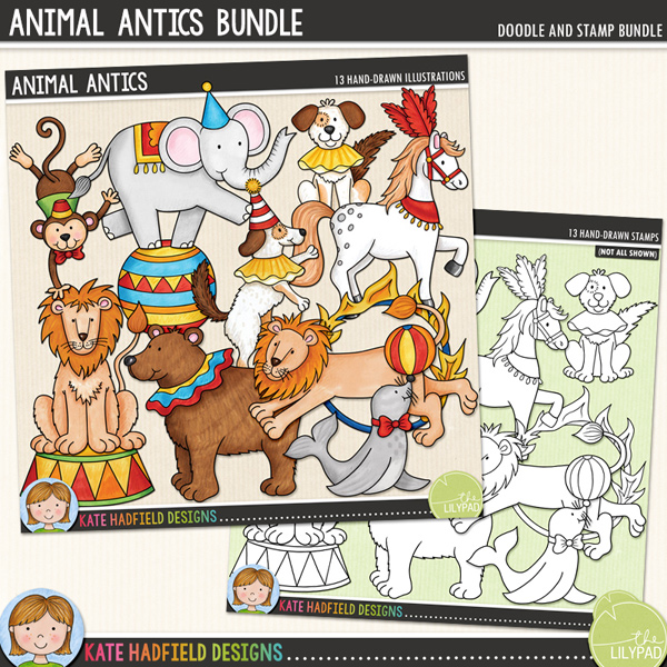 Animal Antics is an add-on to my Big Top doodle pack and features some amazing performing animals! Contains the following hand drawn doodles: ball, bear, 2 dogs (1 dancing, one seated), balancing elephant, fire hoop, hoop, horse, 2 lions (1 jumping, one seated), monkey, seal balancing a ball and 1 circus stand.	Extra value bundle containing:			Animal Antics			Animal Antics StampsFOR PERSONAL & EDUCATIONAL USE (please see my Terms of Use for more information)