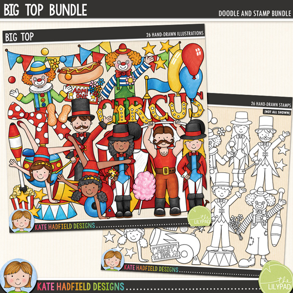 Big Top is a fun doodle pack inspired by a recent trip to the circus! Contains the following hand drawn doodles: 2 acrobat girls, ball, 3 balloons with strings, big top tent, bow tie, bunting, candy floss on a stick, cannon, 'circus' wordart, 3 clowns, clown hat, hot dog, juggling club, 2 lion tamers, megaphone, 2 peanuts, popcorn, 2 ring masters, circus stand, stars, strongman and ticket.	Extra Value bundle containing:			Big Top			Big Top StampsFOR PERSONAL & EDUCATIONAL USE (please see my Terms of Use for more information)