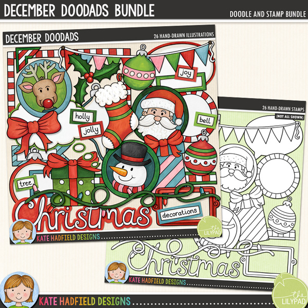 December Doodads is full of all sorts of fun doodled pieces to help you record all your December memories! Included are plenty of journalling pieces along with cute character and themed doodles to add a touch of hand drawn whimsy to your December and Christmas pages and projects! Contains the following hand drawn doodles: 2 baubles, 2 bauble journal spots, bookplate, bow, bunting, Christmas wordart, doodle strip, frame, 2 gifts, holly, 3 journal spots, 2 tags, fairy lights, photo corner, reindeer, Santa, snowman, speech bubble, stocking and thought bubble. Also contains the following wordy-bits: bell, Christmas, decorations, holly, jolly, joy, merry, presents, stocking, tree.	Extra Value Bundle containing:			December Doodads			December Doodads StampsFOR PERSONAL & EDUCATIONAL USE (please see my Terms of Use for more information)