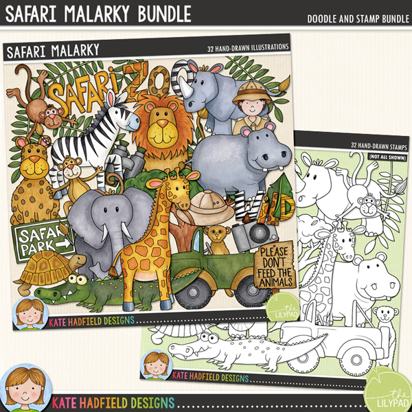 Safari Malarky - Zoo and safari animals digital scrapbook elements / cute wild animal clip art!  (Clipart and line art bundle). Hand-drawn doodles and illustrations for digital scrapbooking, crafting and teaching resources from Kate Hadfield Designs.