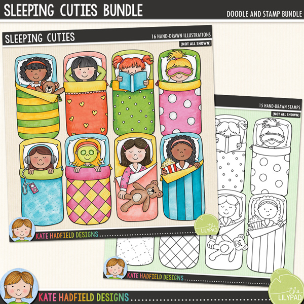 A set of little sleepover girls all tucked up in their sleeping bags enjoying their slumber party! Sleeping Cuties coordinates with my PJ Party doodles and contains 8 girls in sleeping bags, each girl is supplied in two different skin and hair tones for a total of 16 little sleeping beauties! These illustrations are perfect for adding a touch of hand-drawn whimsy to your slumber party layouts and invitations!Extra Value Bundle containing:Sleeping CutiesSleeping Cuties Stamps(Supplied as two zip file downloads)FOR PERSONAL & EDUCATIONAL USE (please see myTerms of Usefor more information)