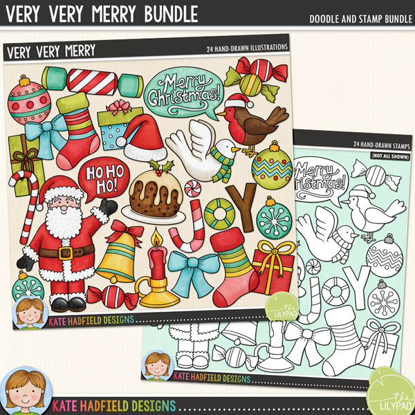 Very Very Merry is a colourful mix of Christmas characters and is part of the December BYOC collection! Contains the following hand drawn doodles: 3 baubles, bell, bow, candle, candy cane, cracker, dove, 3 gifts, Ho ho ho! speech bubble, joy wordart, Merry Christmas! speech bubble, Christmas pudding, robin, Santa, Santa hat, 2 stockings and 2 sweeties.Extra Value Bundle containing:Very Very MerryVery Very Merry StampsSupplied in two zip files.FOR PERSONAL & EDUCATIONAL USE (please see myTerms of Usefor more information)