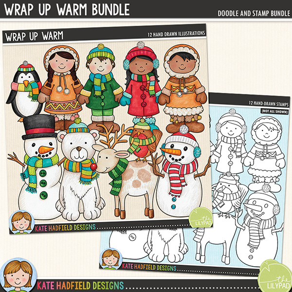 I love those brisk winter days when everyone is bundled up in hats, scarves and gloves, busying themselves making snowmen and having snowball fights! Wrap Up Warm is full of cheerful characters all wrapped up against the cold weather! Contains the following hand-drawn doodles: polar bear, 2 boys and 2 girls (each boy and girl is supplied in two different skin and hair tones, for a total of 4 boys and 4 girls), mittens, penguin, robin, reindeer, snowy tree and 2 snowmen.Extra Value Bundle containing:Wrap Up WarmWrap Up Warm Stamps(supplied as two download files)FOR PERSONAL & EDUCATIONAL USE (please see myTerms of Usefor more information)