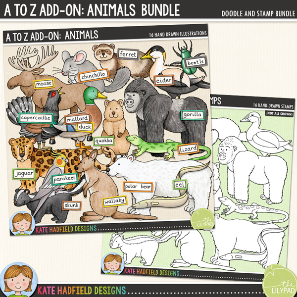 An add-on to my main A to Z set, this pack contains 16 extra animals and birds along with co-ordinating wordy-bits! Fun for recording trips to the zoo and other animals encounters, this pack contains the following hand-drawn illustrations: beetle, capercaillie, chinchilla, eel, eider, ferret, gorilla, jaguar, lizard, mallard duck, moose / elk, parakeet, polar bear, quokka, skunk and wallaby. 	Extra Value pack containing:			A to Z add-on: Animals			A to Z add-on: Animals Stamps	Supplied as two zip file downloads. FOR PERSONAL & EDUCATIONAL USE (please see my Terms of Use for more information)