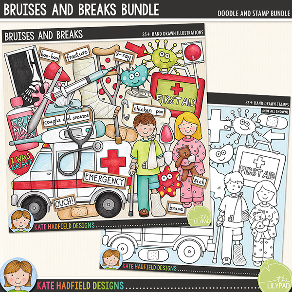 Bruises and Breaks - Accident and illness digital scrapbook elements / cute clip art! (Clipart and line art bundle). Hand-drawn doodles and illustrations for digital scrapbooking, crafting and teaching resources from Kate Hadfield Designs.