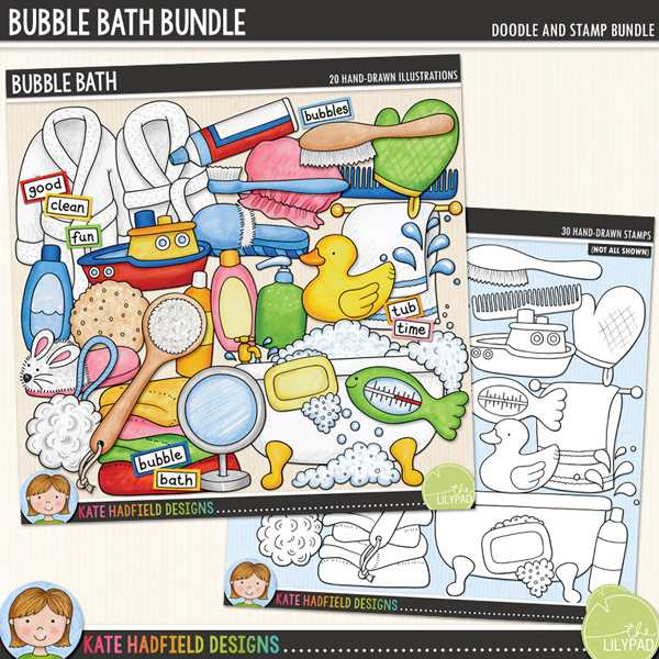 Splish, splash - it's bath time! Perfect for recording all those watery moments from your little one's first ever bath, a favourite bath toy to making bubble bath beards, Bubble Bath contains the following hand drawn doodles: back brush, 3 bubble doodles, 2 bath robes, bath tub, 3 bottles, comb, bath frilly, hairbrush, hand soap, mirror, rubber ducky, shower cap, 2 slippers, soap, 2 splashes, sponge, thermometer, toothbrush, toothpaste, pile of towels, towel rail, toy boat and wash mit.	Also contains the following wordy-bits wordstrips: bath, bubble, bubbles, clean, fun, good, rubber ducky, scrub, splash, time, tub and wash.	 	Extra Value Bundle containing:			Bubble Bath			Bubble Bath StampsFOR PERSONAL & EDUCATIONAL USE (please see my Terms of Use for more information)