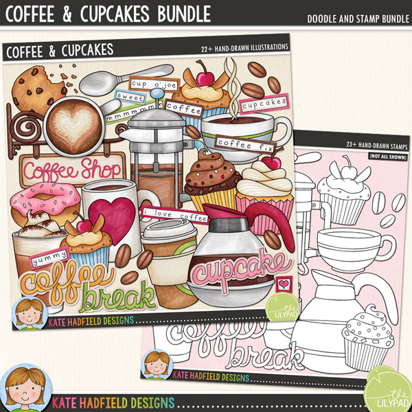 Coffee and cupcakes digital scrapbook elements / cute coffee shop clip art! Clipart and line art bundle. Hand-drawn doodles for digital scrapbooking, crafting and teaching resources from Kate Hadfield Designs.