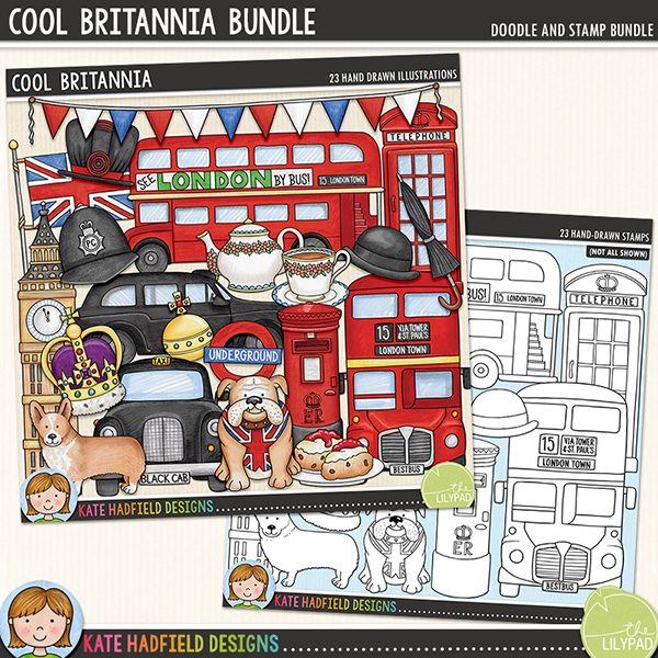 Cool Britannia is a celebration of patriotic pride and all things British! This collection of doodles was hand-drawn and coloured with more than just a little touch of patriotic pride! Contains the following hand-drawn doodles: beefeater hat, Big Ben tower, bowler hat and moustache, British bulldog, bunting, 2 London double decker buses, corgi, cream tea, royal crown and orb, telephone box, police helmet, postbox, 2 London black cabs, teapot and cup of tea, 2 umbrellas, London underground sign and Union Jack flag.	Extra Value Bundle pack containing:			Cool Britannia			Cool Britannia StampsFOR PERSONAL & EDUCATIONAL USE (please see my Terms of Use for more information)