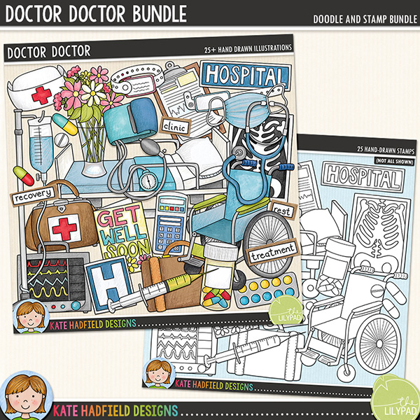 The second in my medical series, 'Doctor, Doctor!' is packed with hospital related doodles and wordy-bits! Contains the following hand-drawn doodles: blood pressure cuff; medical chart; doctor's bag; drip; facemask; get well soon card; hospital bed; 2 hospital signs; 2 monitors; nurse's hat; pill bottle; pills; blister of pills; stethoscope; suitcase; syringe; vase of flowers; wheelchair; 2 wrist bands and x-ray.	 	Also contains the following hand-drawn wordy-bits: bed rest; clinic; consultant; doctor; hospital; nurse; operation; patient; recovery; recuperation; rest; surgeon; surgery and treatment (also contains blank word-strips for you to add your own words!)	 	Extra Value Bundle containing:			Doctor Doctor			Doctor Doctor Stamps	FOR PERSONAL / LIMITED S4H USE (please see my Terms of Use for more information)
