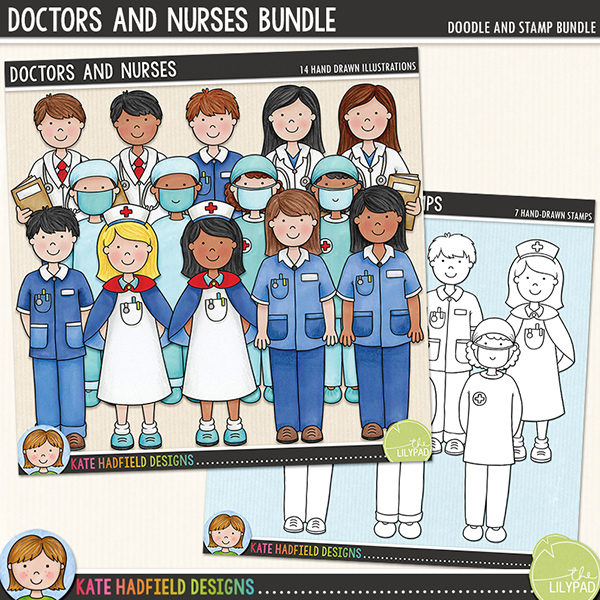 Doctors and Nurses is the companion pack to my Doctor Doctor and Bruises and Breaks sets! Contains the following hand-drawn doodles: two doctors in white coats, two nurses in blue uniforms, nurse in traditional uniform, two surgeons in scrubs. Each character is supplied in two different skin tones / hair colours for a total of 14 doodled medical professionals! 	Extra Value Bundle containing:			Doctors and Nurses			Doctors and Nurses StampsFOR PERSONAL & EDUCATIONAL USE (please see my Terms of Use for more information)