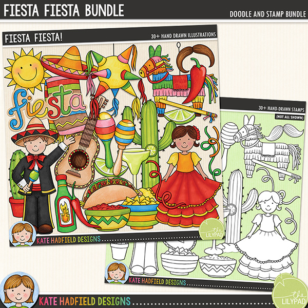 Packed with zingy colours and hot chillies, Fiesta, Fiesta! is perfect for adding a touch of festival fun to your pages and projects! Contains the following hand-drawn doodles: blanket, boy and girl (each boy and girl is supplied in three different hair and skin tone combinations for a total of 6 character doodles), 2 cacti, 2 chilli peppers, bottle of hot chilli sauce, bowl of chips, bowl of salsa, guitar, lime slice, 2 maracas, margarita, 2 moustaches, neckerchief, 2 piñatas with stick, 3 sombreros, 3 streamers, sun, taco and 'fiesta' wordart.Extra Value Bundle containing:Fiesta Fiesta!Fiesta Fiesta StampsSupplied as two zip file downloads.FOR PERSONAL & EDUCATIONAL USE (please see myTerms of Usefor more information)