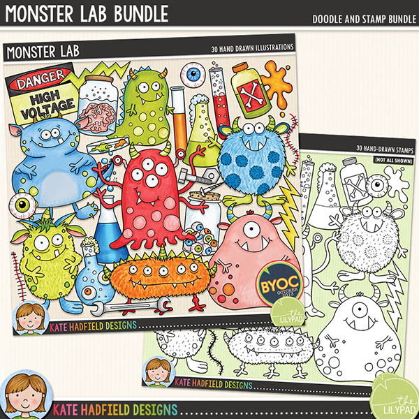 Monster Lab digital scrapbook elements / cute Halloween monster clip art! (Clipart and line art bundle). Hand-drawn illustrations and doodles for digital scrapbooking, crafting and teaching resources from Kate Hadfield Designs.