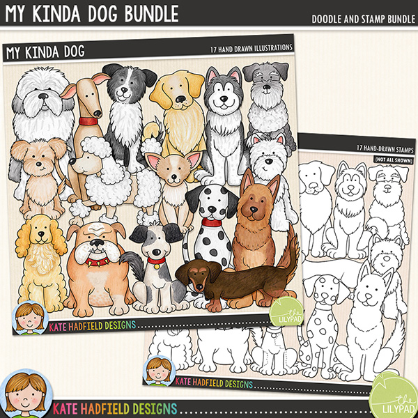My Kinda Dog - Dog breed digital scrapbook elements / cute puppy clip art! (Clipart and line art bundle). Hand-drawn illustrations and doodles for digital scrapbooking, crafting and teaching resources from Kate Hadfield Designs.