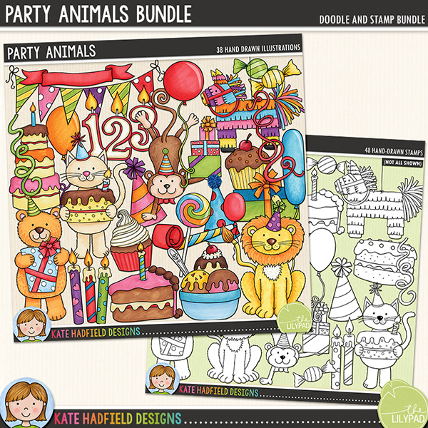 A fun and colourful collection that's perfect for celebrating your little one's birthday! Add a touch of hand drawn charm to your birthday pages and projects with these new doodles! Contains the following hand drawn doodles: 3 balloons, banner, bear with gift, 2 birthday cakes, bow, bunting, slice of cake, 3 candles, cat with cake, confetti, crown, 3 cupcakes, 4 gifts, bowl of ice cream, lion with balloon, lollipop, monkey with gifts, 2 party blowers, 3 party hats, pinata, 3 streamers and 2 sweets. Also contains birthday candle numbers 0-9 with and without flame.	Extra value bundle containing:			Party Animals			Party Animals Stamps	(Supplied as two download files)FOR PERSONAL & EDUCATIONAL USE (please see my Terms of Use for more information)