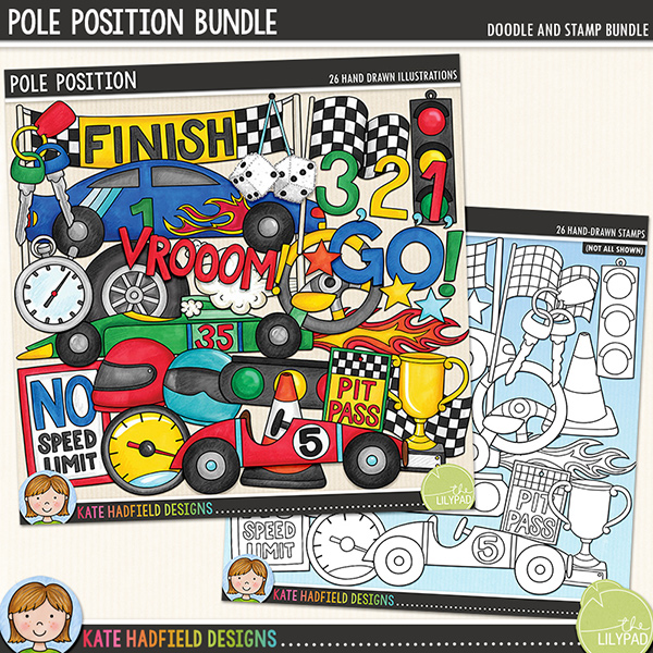 Do you have a racing car fanatic in your family?! Document their love of motors, racing and their need for speed with this new set of doodles!! Pole Position contains the following hand drawn doodles: 3,2,1, GO! wordart; 3 cars; cone; finish sign (version with no text also included); 2 chequered flags; flames; furry dice; 2 helmets; keys; 2 traffic lights; pit pass (version with no text also included); no speed limit sign (version with no text also included); speedometer; stars; steering wheel; stopwatch; trophy; Vrooom wordart, wheel and whoosh.Extra Value Bundle containing:Pole PositionPole Position StampsFOR PERSONAL & EDUCATIONAL USE (please see myTerms of Usefor more information)