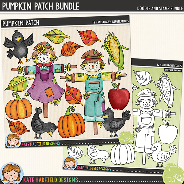 Pumpkin Patch - autumn digital scrapbook elements / cute scarecrow clip art!  (Clipart and line art bundle). Hand-drawn doodles and illustrations for digital scrapbooking, crafting and teaching resources from Kate Hadfield Designs.