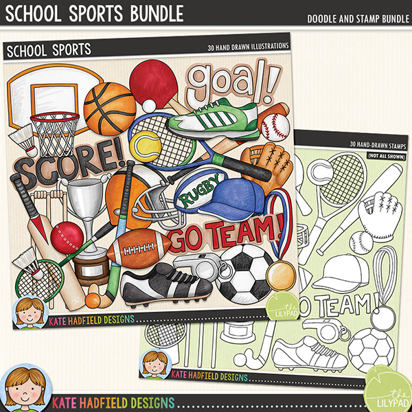 Calling all sports fans! School Sports is a fun collection of doodles dedicated to all the sports fanatics out there! Whatever sport is your passion - from soccer to tennis, baseball to cricket - these doodles are sure to add a touch of hand-drawn fun to your pages and projects! Includes the following hand-drawn doodles: badminton racket and shuttlecock; baseball ball, bat, cap and mitt; basketball ball, hoop and shoe; cricket ball, bat and wicket; football ball and helmet; hockey stick and ball; medal; rugby ball; soccer ball, shoe and whistle; table tennis bat and ball; tennis racket and ball; training shoe; trophy and the following wordart pieces: 'goal!', 'go team!' and 'score!'	Extra Value Bundle containing:			School Sports			School Sports Stamps	(Supplied as two download files)FOR PERSONAL & EDUCATIONAL USE (please see my Terms of Use for more information)