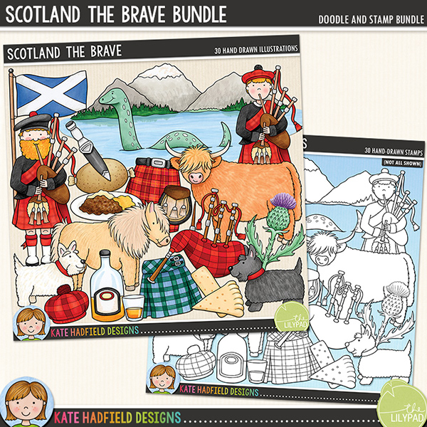 Scotland the Brave - bonnie Scotland digital scrapbook elements / cute Scottish clip art! (Clipart and line art bundle). Hand-drawn doodles and illustrations for digital scrapbooking, crafting and teaching resources from Kate Hadfield Designs.