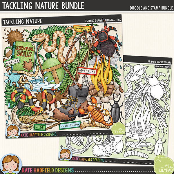 Inspired by a friend's son and his love for TV survival shows, Tackling Nature is a jam-packed, down and dirty doodle pack created for all the intrepid explorers out there! Contains the following hand-drawn doodles: stick arrow, beetle, dirty boot, handmade bow and arrow, camp fire, water canteen, cricket, footprint, grub, survival handbook, knife, 3 leaves, 2 mud splats, puddle, rain drops, rocks, rope, scorpion, shelter, smoke signals, 2 snakes, SOS sign, handmade spear, tarantula, splash, 2 vines, water splat and 2 meal worms. Also contains the following wordy-bits: adventure, bushcraft, bush tucker, campfire, danger, desert, jungle, mountain, nature, roughin' in, survival, survivor, wild and wilderness.Extra Value Bundle containing:Tackling NatureTackling Nature Stamps(supplied as two zip file downloads)FOR PERSONAL & EDUCATIONAL USE (please see myTerms of Usefor more information)