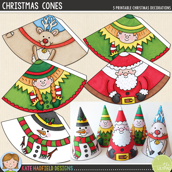 A fun set of 5 PRECOLOURED hand drawn Christmas characters to decorate your home! Simply print and cut out, then glue along the edge and roll up to create a cute Christmas cone character! You could even add some ribbon to hang them on your tree! Contains the following characters: reindeer, elf boy, elf girl, Santa and snowman. Approximate size: 10.5cm tall. All images are 300 dpi for best quality printing.	INSTRUCTIONS:			Print out the cones (a light to medium weight paper or cardstock is best, rolling the cones is tricky with a heavy paper!)			Cut out and then glue along the tab (don't fold the tab otherwise there will be a ridge in your finished cone!) You might like to attach a piece of knotted ribbon to the inside of the cone before rolling if you want to hang the decoration. (You can also push the ribbon through the hole at the top of the finished cone if you don't add it at this stage).			Roll the cone round with the tab on the inside and stick together.	You might like to finish off the cones with some extra embellishment! You could try adding a cotton wool beard or hat bobble to Father Christmas, or maybe add some extra sparkle to the snowman with some glitter glue!	 	DOWNLOADS:	Two download versions are included for your convenience: 						Zip file containing individual PNG and JPEG files for each cone (ideal for resizing the cones, or for printing lots of the same design!)							Ready-to-print PDF file (pefrect to just print and go!)		For a colour-in version to decorate yourself, please see my COLOUR-IN CHRISTMAS CONES!FOR PERSONAL ONLY USE (please see my Terms of Use for more information)
