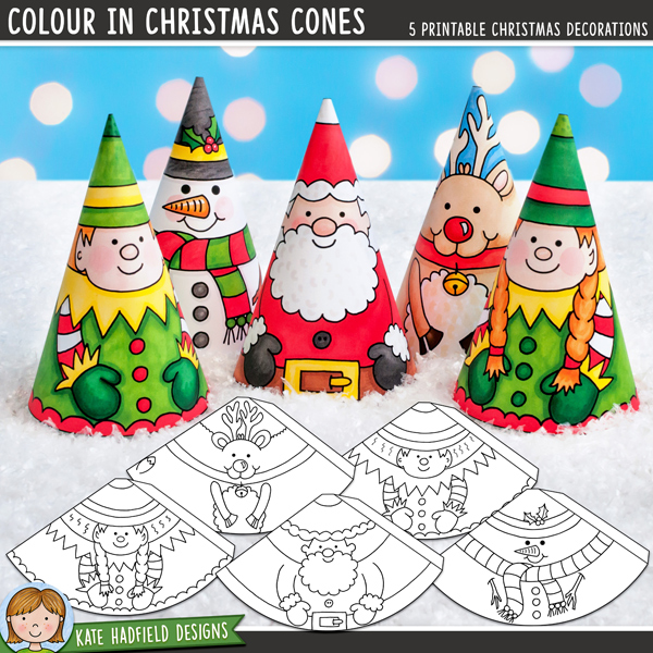 A fun set of 5 hand-drawn Christmas characters to decorate your home! Simply print out, colour with your choice of art materials, cut out and then roll up and glue together to create a cute Christmas cone character. You could even add some ribbon to hang them on your tree! Contains the following characters: reindeer, elf boy, elf girl, Santa and snowman. Approximate size: 10.5cm tall.All images are 300 dpi for best quality printing.INSTRUCTIONS:Print out the cones (a light to medium weight paper or cardstock is best, rolling the cones is tricky with a heavy paper!)Colour in the characters with your choice of art materials! You might like to attach a piece of knotted ribbon to the inside of the cone before rolling if you want to hang the decoration. (You can also push the ribbon through the hole at the top of the finished cone if you don't add it at this stage).Cut out and then glue along the tab (don't fold the tab otherwise there will be a ridge in your finished cone!)Roll the cone round with the tab on the inside and stick together. You might like to finish off the cones with some extra embellishment! You could try adding a cotton wool beard or hat bobble to Father Christmas, or maybe add some extra sparkle to the snowman with some glitter glue!DOWNLOADS:Two download versions are included for your convenience:Zip file containing individual PNG and JPEG files for each cone (ideal for resizing the cones, or for printing lots of the same design!)Ready-to-print PDF file (pefrect to just print and go!)For a quick and easy Christmas decoration, you might like the precoloured version of this craft: CHRISTMAS CONES!FOR PERSONAL USE ONLY (please see myTerms of Usefor more information)