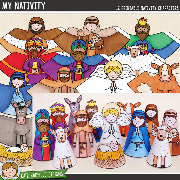 A fun set of 12 hand drawn, PRE-COLOURED nativity characters for you to print and create! Simply print, cut out, glue along the edge and roll up to create your own nativity scene! Contains the following printable characters: angel, baby Jesus in manger, cow, donkey, Mary, Joseph, sheep, 2 shepherds and 3 wise men / kings. Average size: 10cm tall. All images are 300 dpi for best quality printing.INSTRUCTIONS:1. Print out the characters on a good quality paper (a lightweight matte photo paper is a good choice)2. Cut out and then glue along the tab (don't fold the tab otherwise there will be a ridge in your finished character!)3. Roll the base of the character round with the tab on the inside and stick together. You might find its easiest to do this on a flat surface to help your character stand up straight! Glue the angel wings to the back of the angel once assembled.You might like to finish off the cones with some extra embellishment! You could try adding some straw to the manger, some glitter to the wise men's gifts, or some cotton wool for extra fluffy sheep!DOWNLOADS:Two download versions are included for your convenience:Zip file containing individual PNG and JPEG files for each cone (ideal for resizing the cones, or for printing lots of the same design!)Ready-to-print PDF file (pefrect to just print and craft!)For a colour-in version to decorate yourself, you might like the COLOUR-IN NATIVITY version of this craft!FOR PERSONAL USE ONLY (please see my Terms of Use for more information)