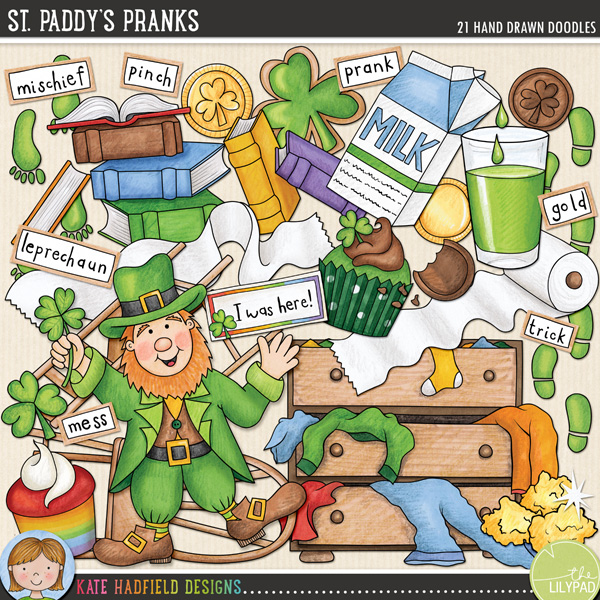 An add-on to my Luck of the Irish doodles, St. Paddy's Pranks was created after I heard about some mischievous leprechauns who visit my friend every St. Patrick's Day and leave a trail of chaos all round her house! You can scrap your own leprechaun visits with the following hand-drawn doodles: messy chest of drawers, 2 chocolate coins, 2 chocolate gold coins in wrappers, shamrock cookie, green cupcake, rainbow cupcake, 2 sets of leprechaun footprints, gold nuggets and sparkle, glass and carton of green milk, dancing leprechaun, messy pile of books, leprechaun I was here! note, shamrock, 2 messy rolls of toilet paper, 2 upturned chairs and the following word strips: gold, gotcha, leprechaun, mess, mischief, pinch, prank and trick.FOR PERSONAL & EDUCATIONAL USE (please see my Terms of Use for more information)