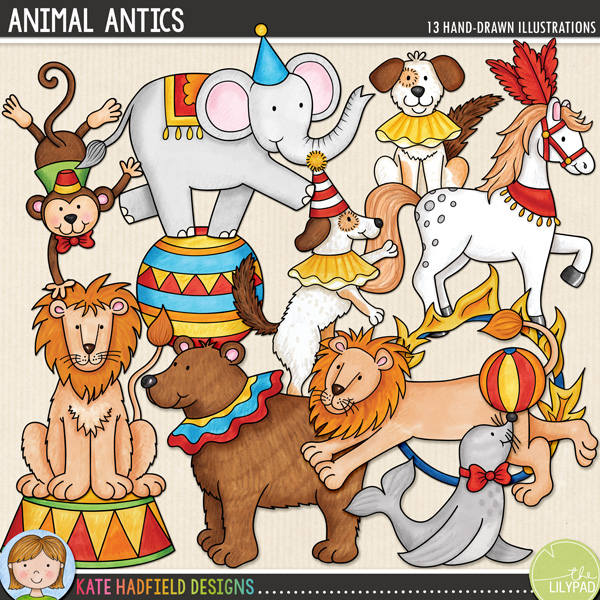 Animal Antics is an add-on to my Big Top doodle pack and features some amazing performing animals! Contains the following hand drawn doodles: ball, bear, 2 dogs (1 dancing, one seated), balancing elephant, fire hoop, hoop, horse, 2 lions (1 jumping, one seated), monkey, seal balancing a ball and 1 circus stand.Save $$ on the whole collection with the Big Top Bundle!FOR PERSONAL & EDUCATIONAL USE (please see myTerms of Usefor more information)